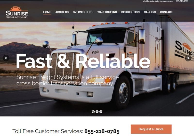 Feature Web Design Project – Sunrise Freight Systems