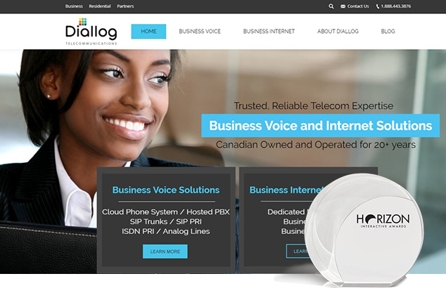 Diallog Telecommunications award winning web design