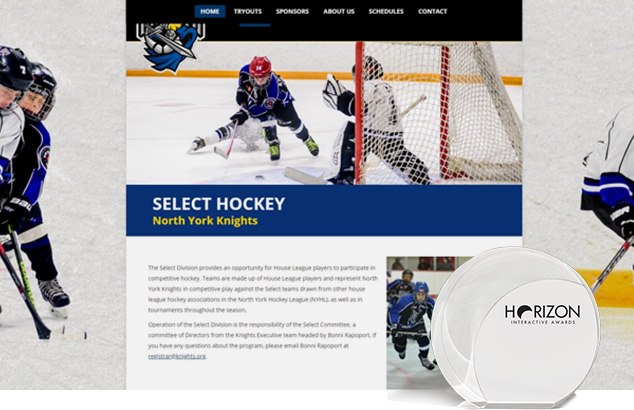 North York Knights award winning website design and development